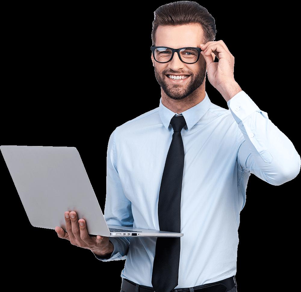 Mann mit Laptop und Krawatte